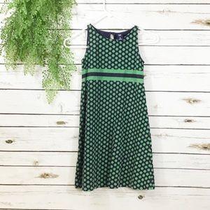 Gap Kids navy green polka dot dress 8